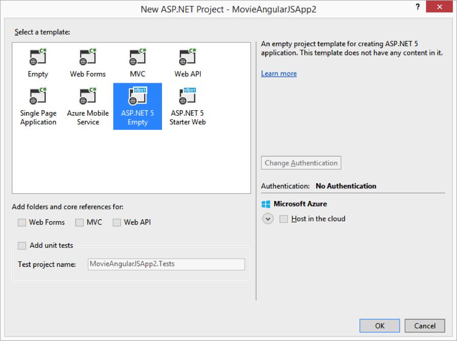 ASP.NET 5 Empty Project Template